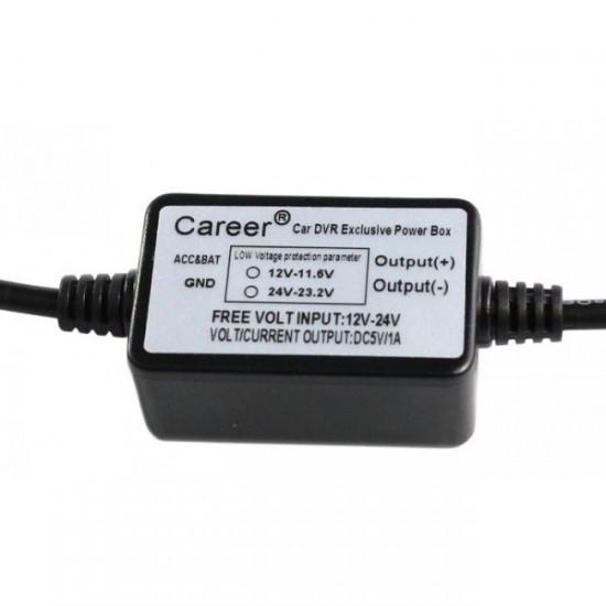 Strømforsyning for Dashbordkamera, 12V/24V til 5V mini USB
