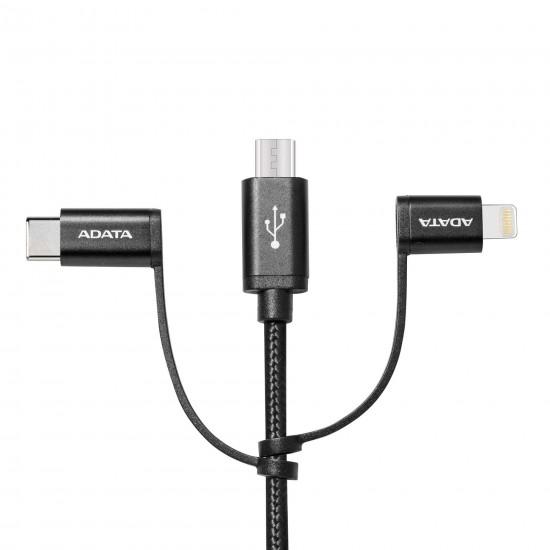 Adata 3 i 1 USB-kabel, Micro-USB/USB-C/Lightning