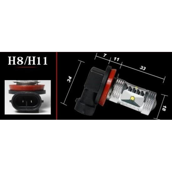 H8/H11 pære, High-Power, 30W, 12V-24V