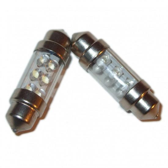Rød 6 LED pinolpærer 12V 39/41mm. 2 stk.