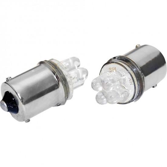 Hvit 4 LED 12V, BA9S, 2 stk.