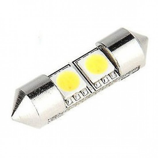 Hvit 2 SMD-LED pinolpærer 12V 40mm. 2 stk. for CAN-BUS
