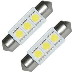 Hvit 3 SMD-LED pinolpærer 12V 40mm. 2 stk. for CAN-BUS