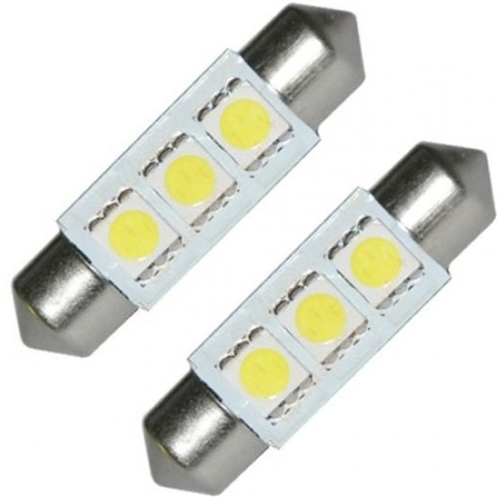 Hvit 3 SMD-LED pinolpærer 12V 40mm. 2 stk. for CAN-BUS