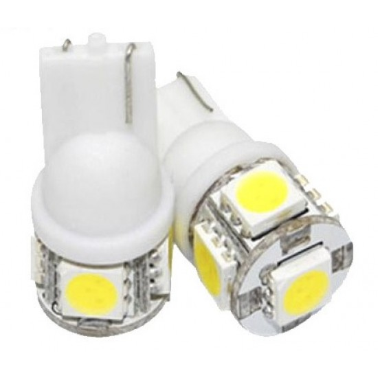 Hvit High Power LED 5-SMD 12V, W5W, 2 stk.