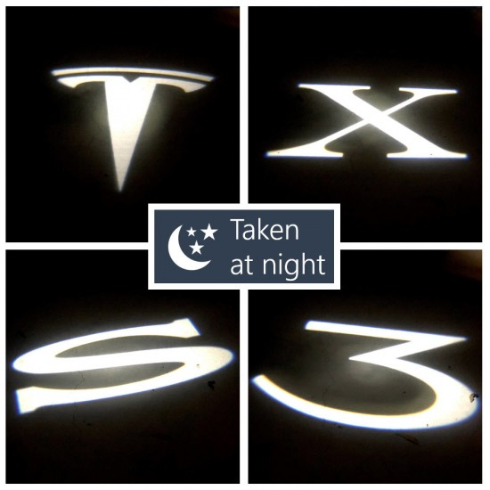 Ultra-Bright LED dørlys med logo - Tesla Model 3 (2 stk.)