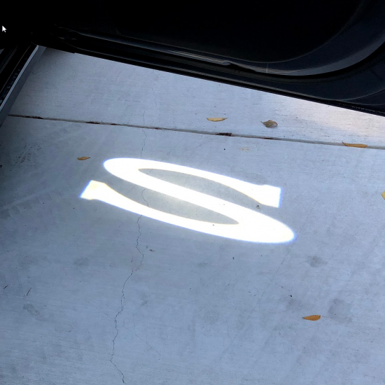 Ultra-Bright LED dørlys med logo - Tesla Model S (2 stk.)